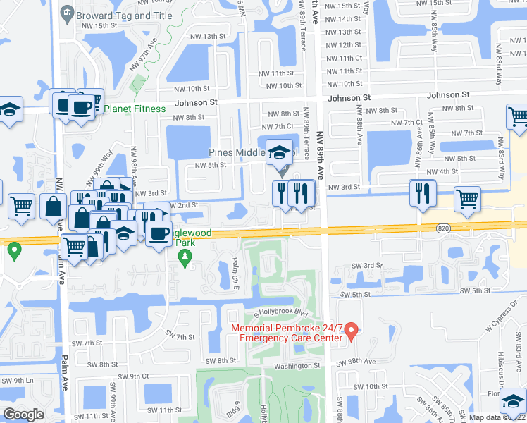 map of restaurants, bars, coffee shops, grocery stores, and more near 9189 Northwest 1st Street in Pembroke Pines