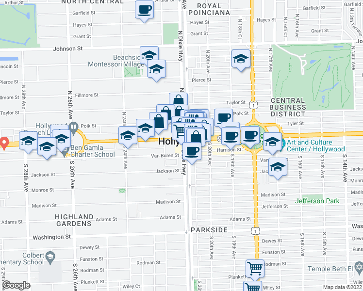 map of restaurants, bars, coffee shops, grocery stores, and more near in Hollywood