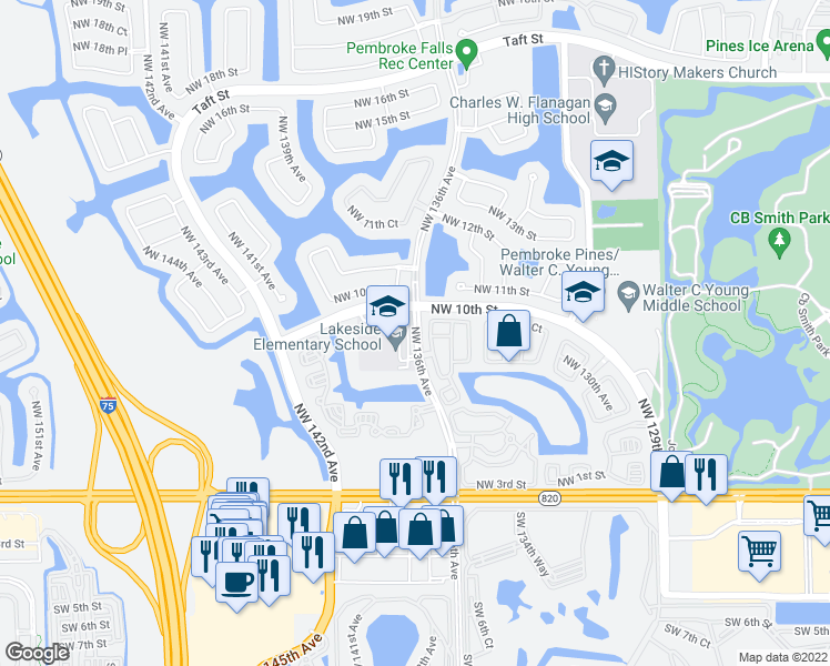 map of restaurants, bars, coffee shops, grocery stores, and more near 876 Northwest 135th Terrace in Pembroke Pines