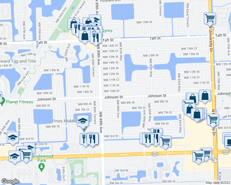 map of restaurants, bars, coffee shops, grocery stores, and more near 8800-8810 Johnson Street in Pembroke Pines