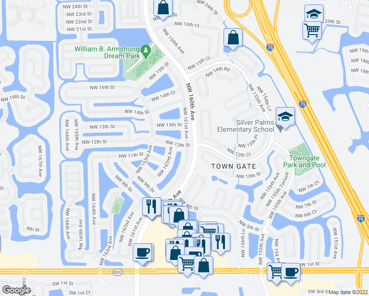 map of restaurants, bars, coffee shops, grocery stores, and more near 1239 Northwest 161st Avenue in Pembroke Pines