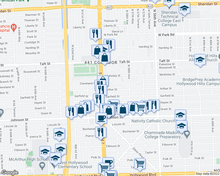 map of restaurants, bars, coffee shops, grocery stores, and more near 5919 Arthur Street in Hollywood