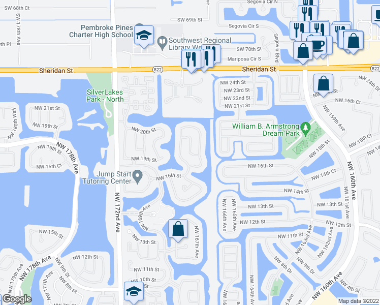 map of restaurants, bars, coffee shops, grocery stores, and more near Northwest 167th Terrace in Pembroke Pines