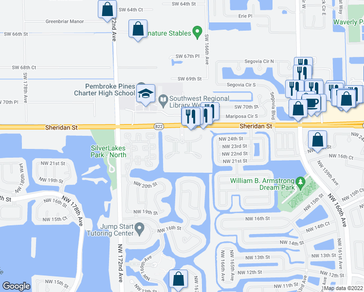 map of restaurants, bars, coffee shops, grocery stores, and more near 16700 Sheridan Street in Pembroke Pines