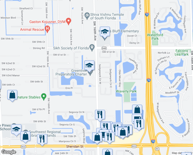 map of restaurants, bars, coffee shops, grocery stores, and more near 6331 Sedgewyck Circle West in Davie