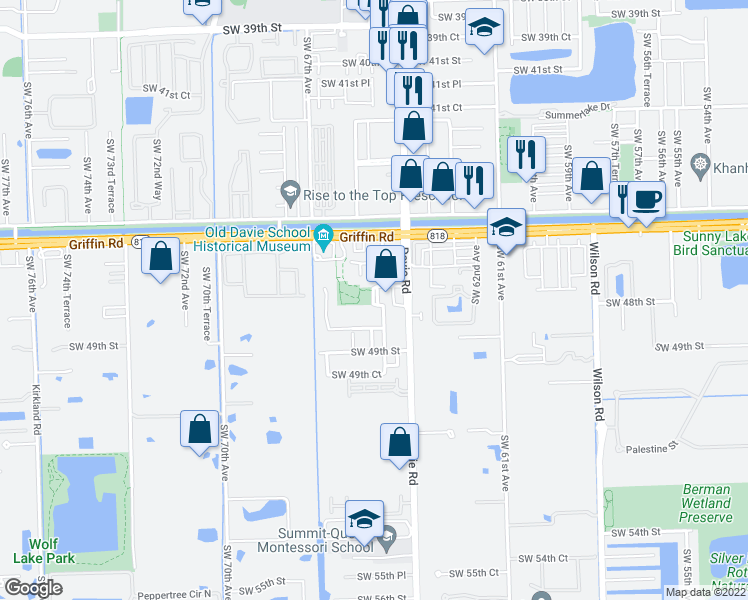 map of restaurants, bars, coffee shops, grocery stores, and more near 4701 Southwest 65th Avenue in Davie