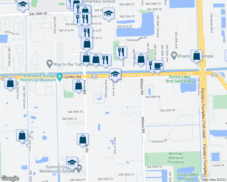 map of restaurants, bars, coffee shops, grocery stores, and more near 4710 Southwest 61st Avenue in Davie