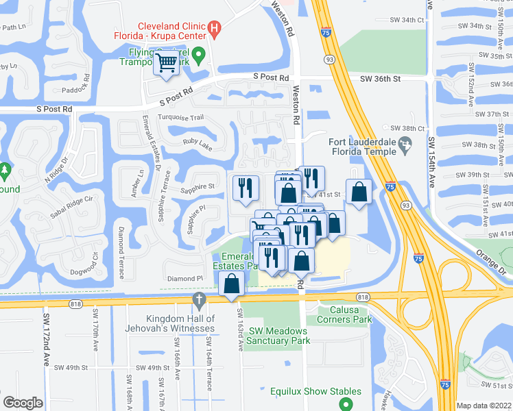 map of restaurants, bars, coffee shops, grocery stores, and more near 16100 Emerald Estates Drive in Weston