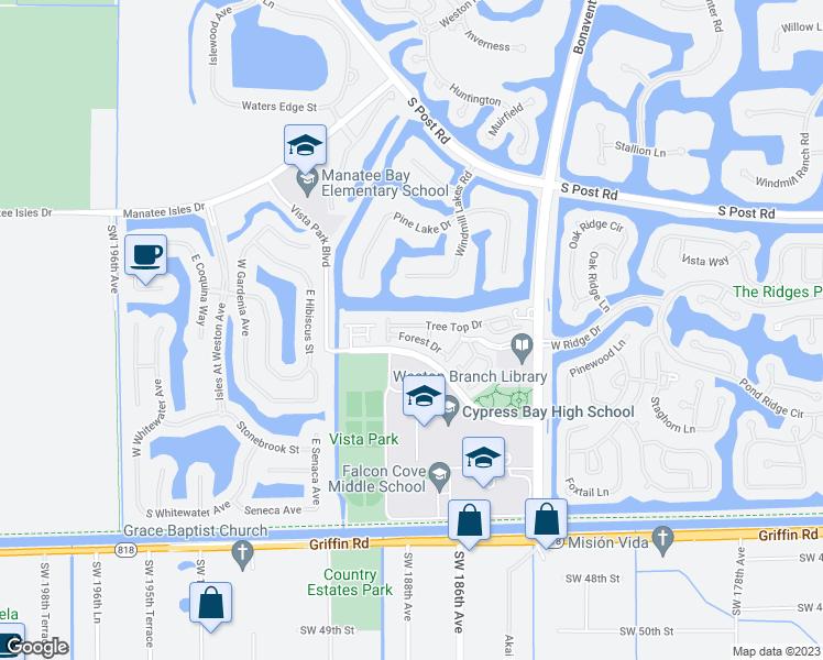 Map Of Weston Florida.3920 Tree Top Dr Weston Fl Walk Score