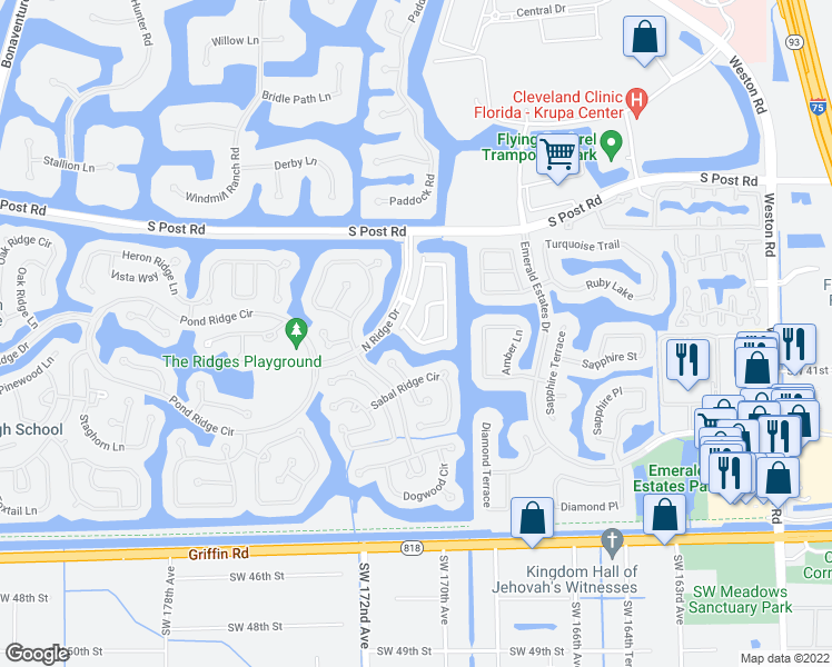 map of restaurants, bars, coffee shops, grocery stores, and more near 3938 San Simeon Lane in Weston