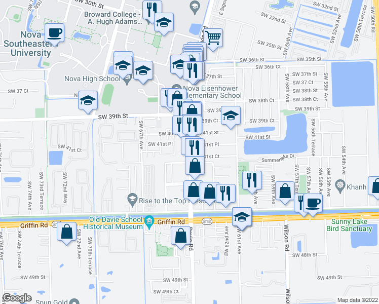 map of restaurants, bars, coffee shops, grocery stores, and more near Southwest 64th Avenue in Davie