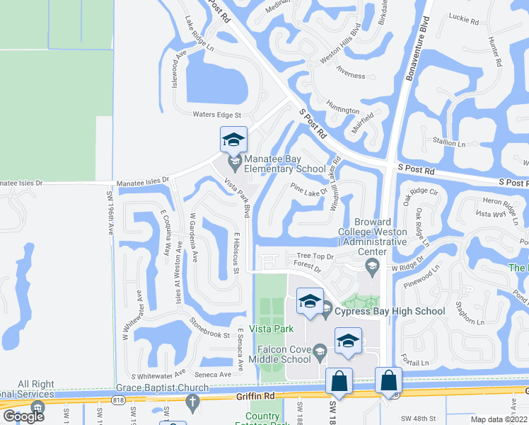 map of restaurants, bars, coffee shops, grocery stores, and more near 3852 Pine Lake Drive in Weston