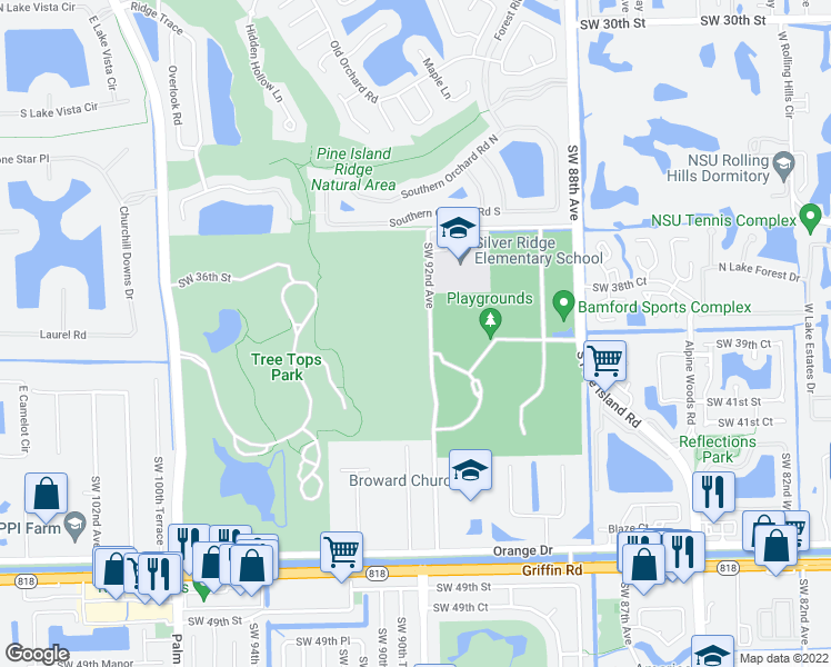 map of restaurants, bars, coffee shops, grocery stores, and more near 0 Florida Avenue in Fort Lauderdale