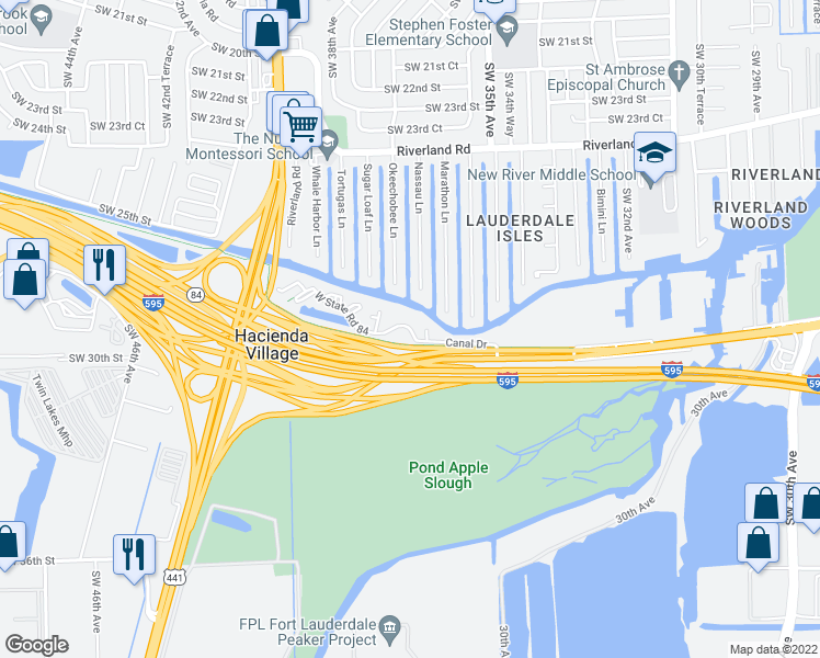 map of restaurants, bars, coffee shops, grocery stores, and more near 3500-3636 Canal Drive in Davie