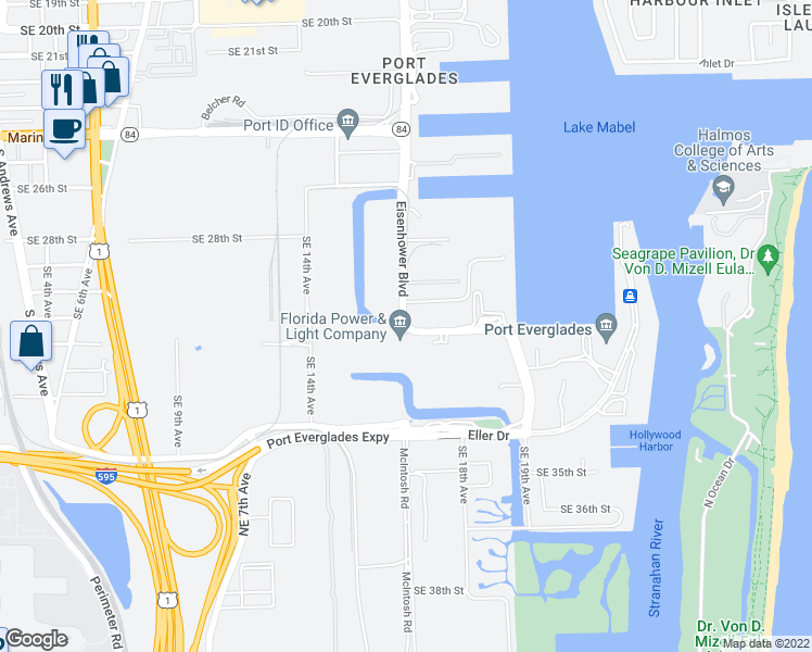 map of restaurants, bars, coffee shops, grocery stores, and more near 3098 Eisenhower Boulevard in Fort Lauderdale