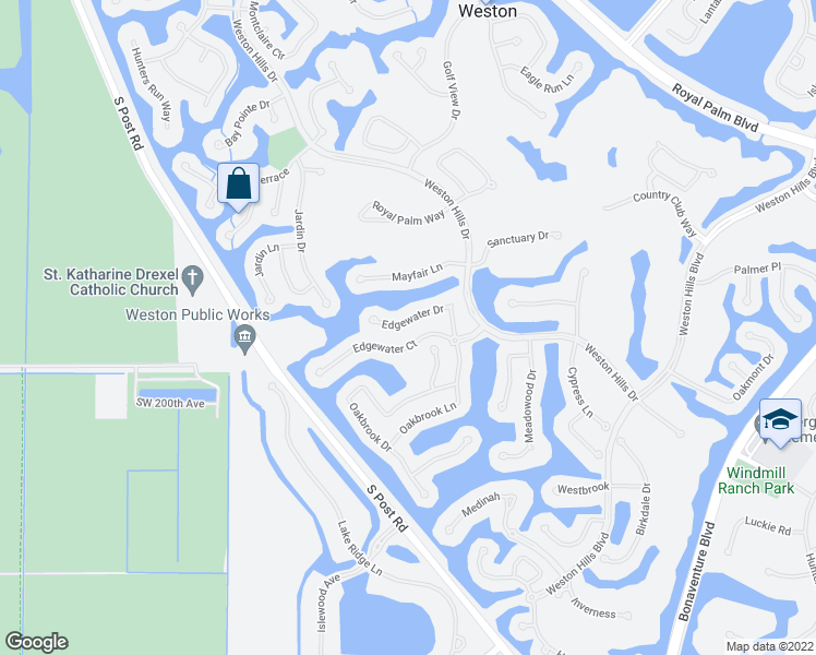 map of restaurants, bars, coffee shops, grocery stores, and more near 2659-2661 Edgewater Drive in Weston