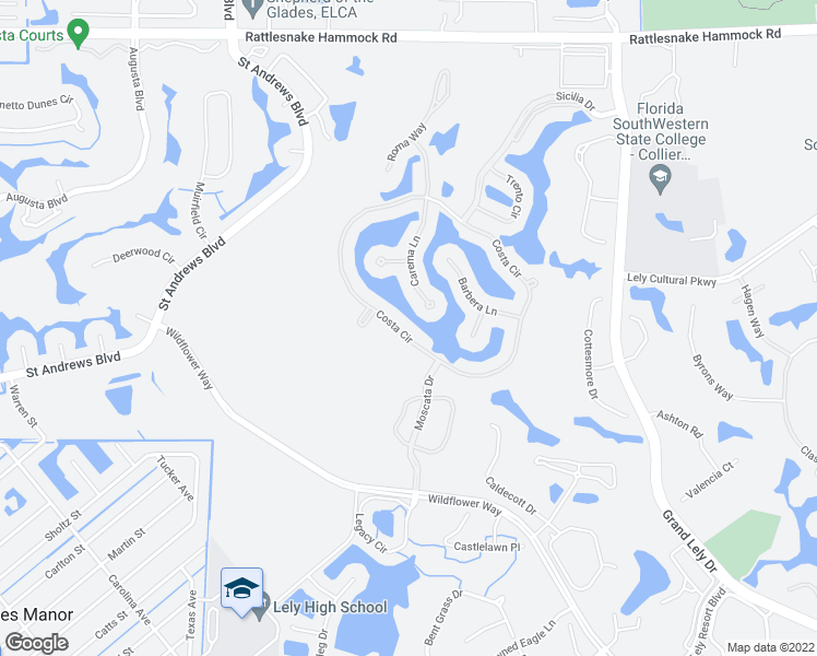 map of restaurants, bars, coffee shops, grocery stores, and more near 6412 Costa Circle in Naples