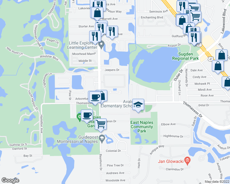 map of restaurants, bars, coffee shops, grocery stores, and more near 4633 Bayshore Drive in Naples