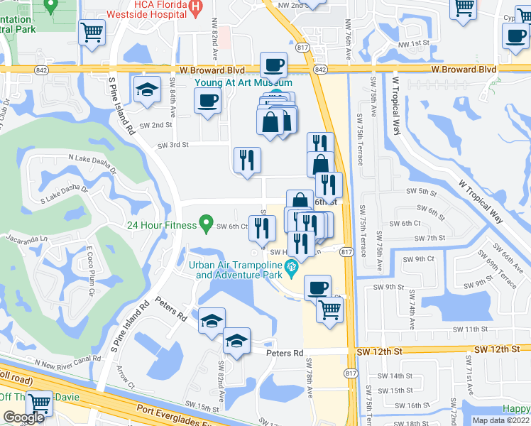 map of restaurants, bars, coffee shops, grocery stores, and more near 7800-8050 Southwest 6th Street in Plantation