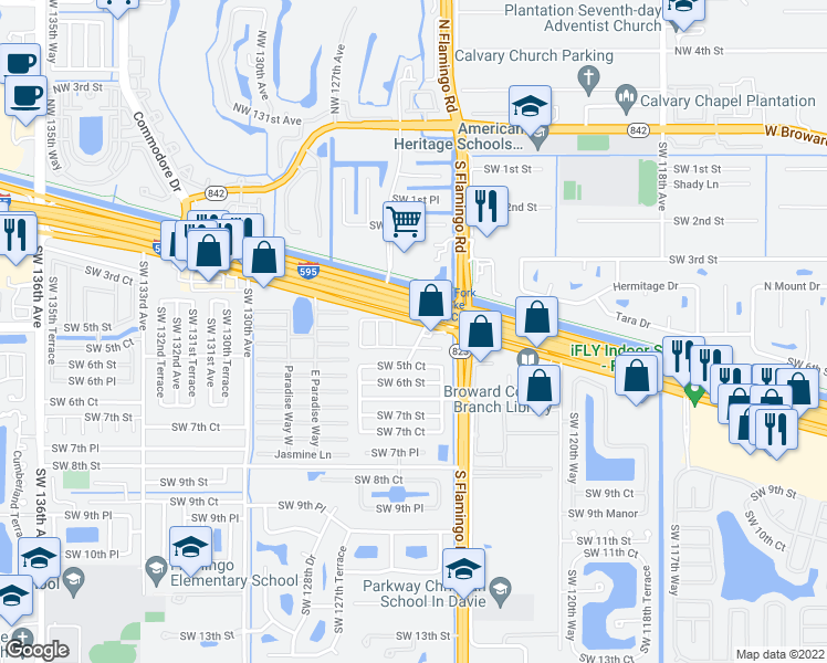 map of restaurants, bars, coffee shops, grocery stores, and more near 12500 Southwest 5th Street in Davie