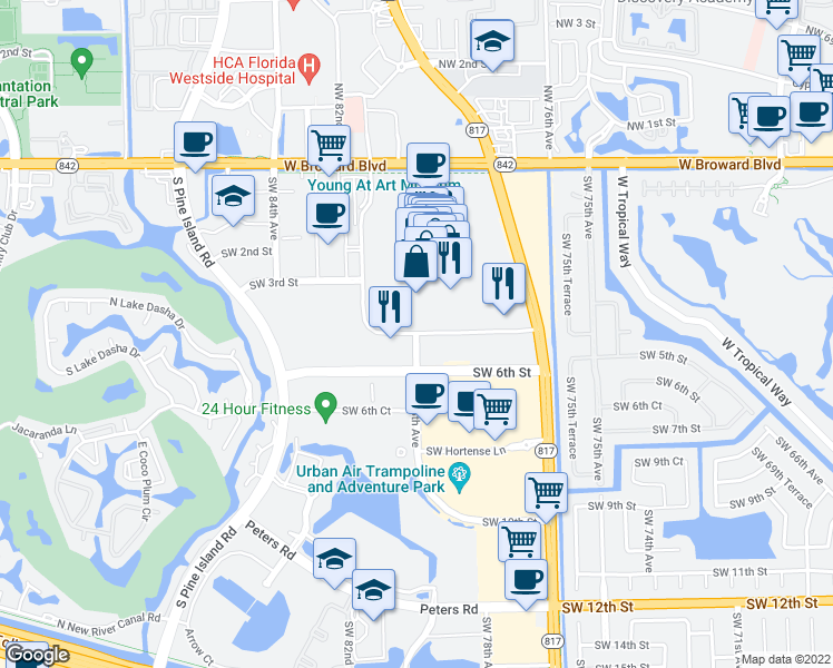 map of restaurants, bars, coffee shops, grocery stores, and more near Federated Road in Plantation