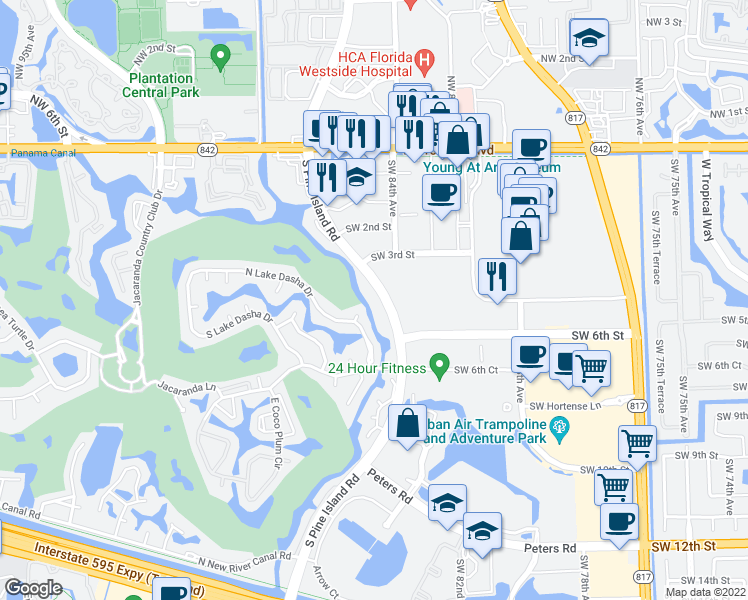 map of restaurants, bars, coffee shops, grocery stores, and more near 455 South Pine Island Road in Plantation