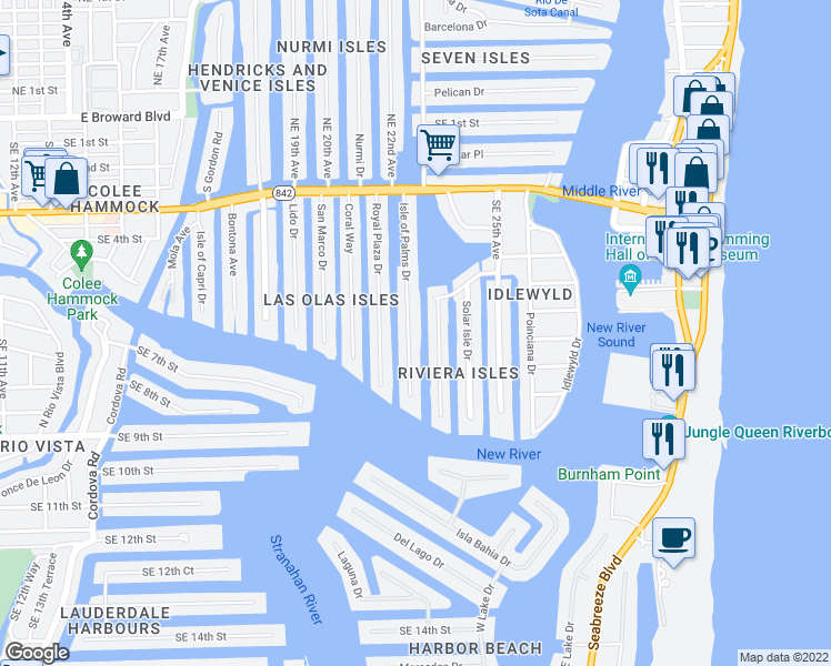 map of restaurants, bars, coffee shops, grocery stores, and more near 625-633 Isle of Palms Drive in Fort Lauderdale