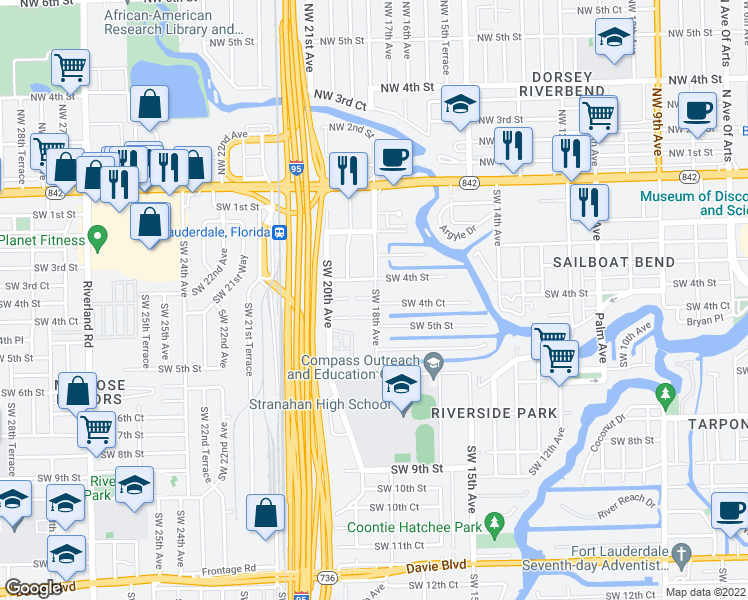 map of restaurants, bars, coffee shops, grocery stores, and more near 1806 Southwest 4th Street in Fort Lauderdale