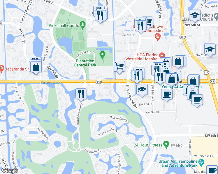 map of restaurants, bars, coffee shops, grocery stores, and more near 150 Southwest 91st Avenue in Plantation