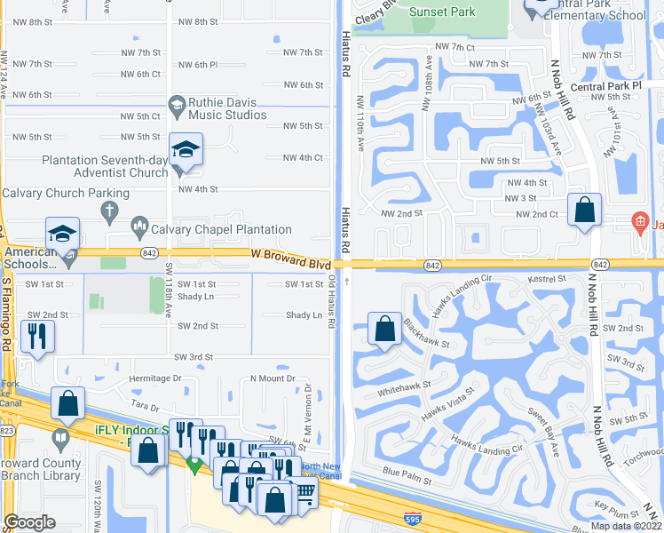 map of restaurants, bars, coffee shops, grocery stores, and more near W Broward Blvd & Old Hiatus Rd in Plantation