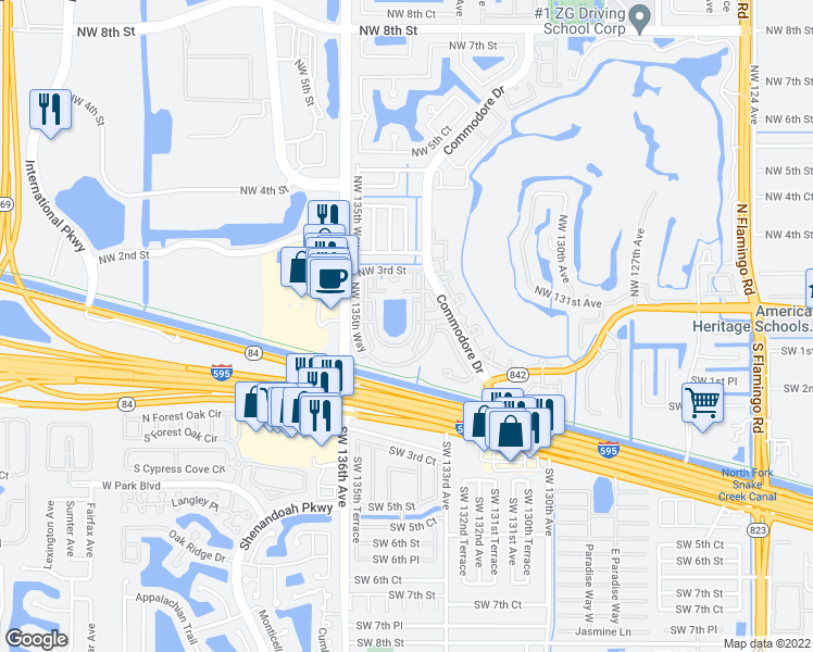 map of restaurants, bars, coffee shops, grocery stores, and more near 13500 Northwest 3rd Street in Plantation