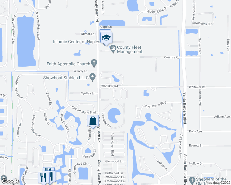 map of restaurants, bars, coffee shops, grocery stores, and more near 5665 Whitaker Road in Naples