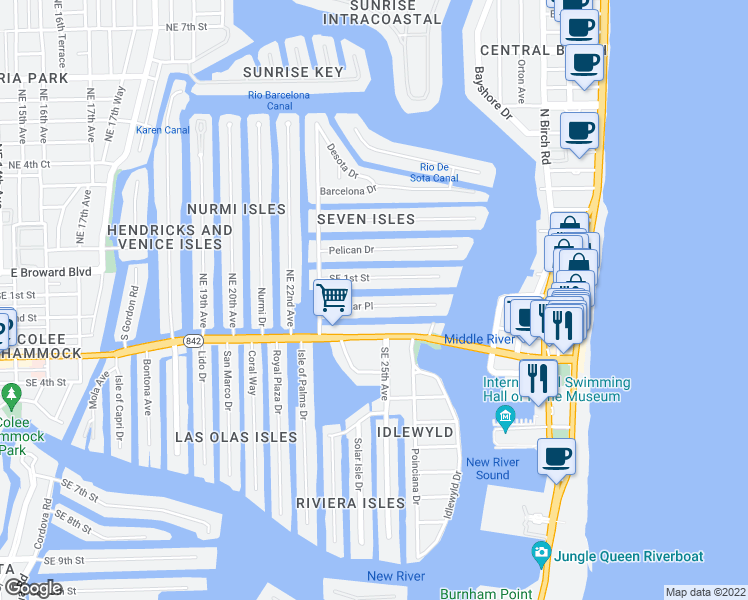 map of restaurants, bars, coffee shops, grocery stores, and more near 2431 Delmar Place in Fort Lauderdale