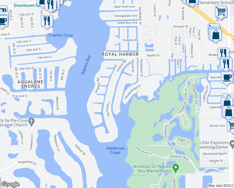 map of restaurants, bars, coffee shops, grocery stores, and more near 2160 Snook Drive in Naples