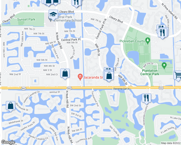 map of restaurants, bars, coffee shops, grocery stores, and more near 9862 Northwest 2nd Court in Plantation