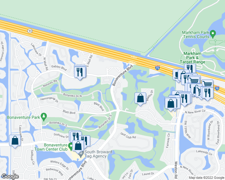 map of restaurants, bars, coffee shops, grocery stores, and more near 100 Bonaventure Boulevard in Weston