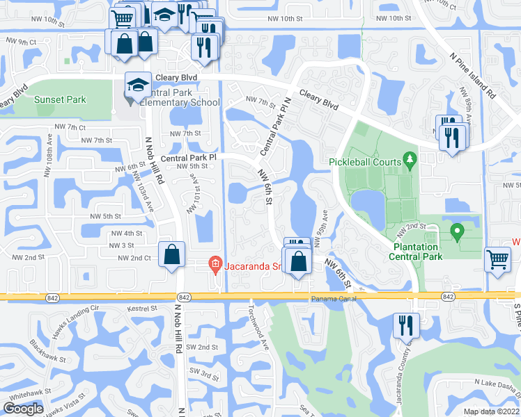 map of restaurants, bars, coffee shops, grocery stores, and more near 9856 Northwest 3rd Street in Plantation