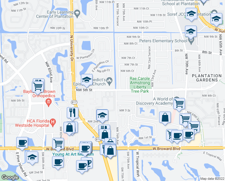 map of restaurants, bars, coffee shops, grocery stores, and more near 7623-7649 Northwest 5th Street in Plantation