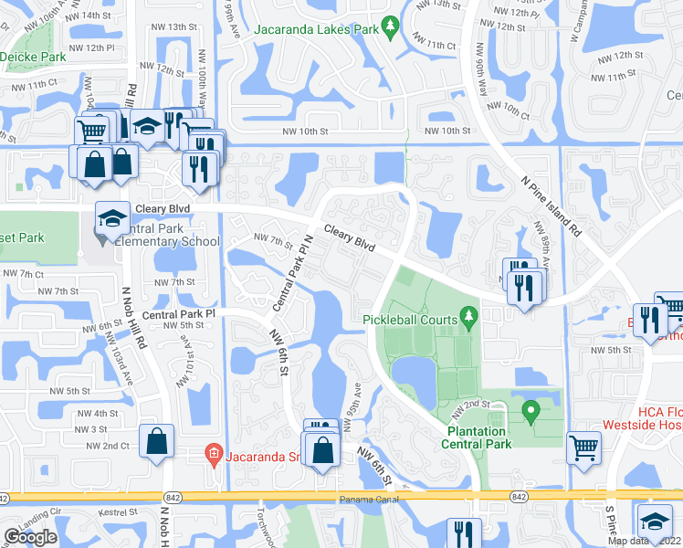 map of restaurants, bars, coffee shops, grocery stores, and more near 9733 Northwest 7th Circle in Plantation