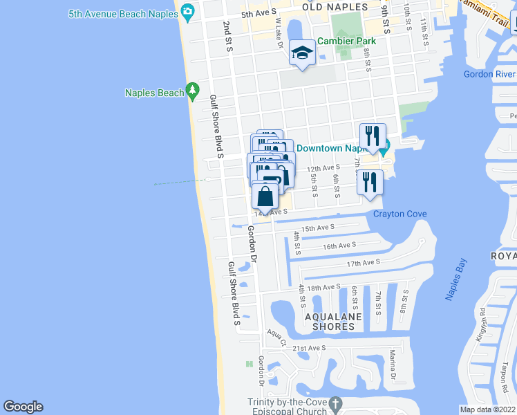 map of restaurants, bars, coffee shops, grocery stores, and more near 241 14th Avenue South in Naples