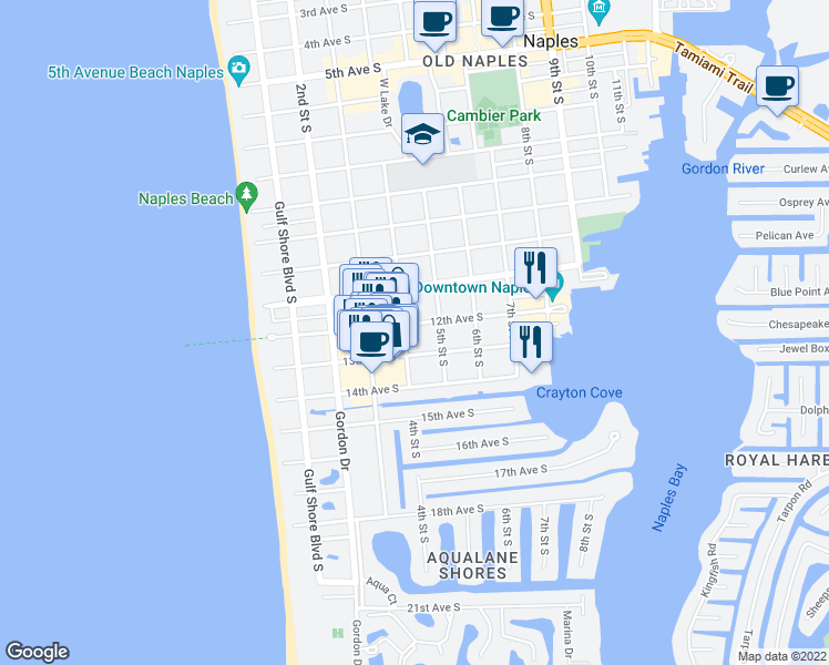 map of restaurants, bars, coffee shops, grocery stores, and more near 422 12th Avenue South in Naples