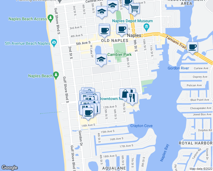 map of restaurants, bars, coffee shops, grocery stores, and more near 544 10th Avenue South in Naples