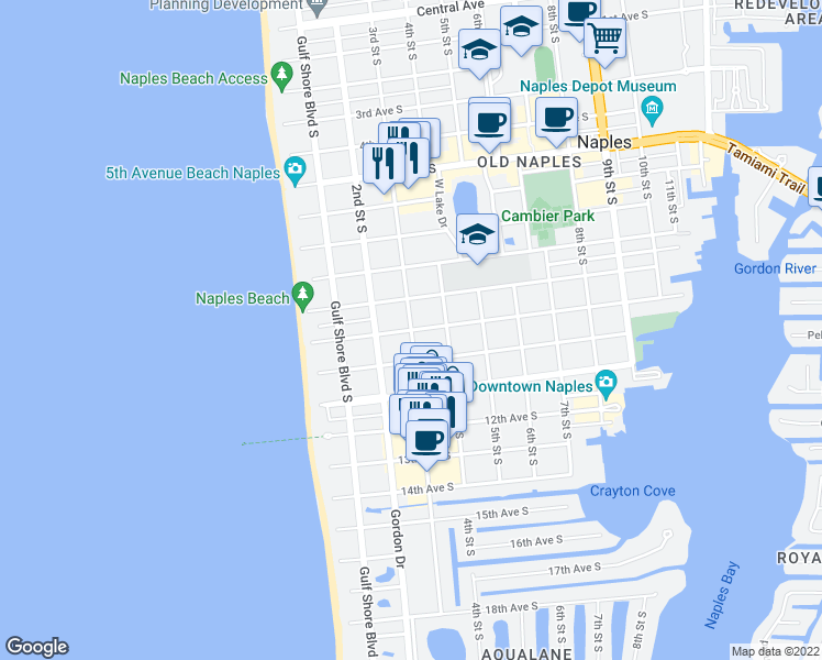 map of restaurants, bars, coffee shops, grocery stores, and more near 3rd Street South in Naples