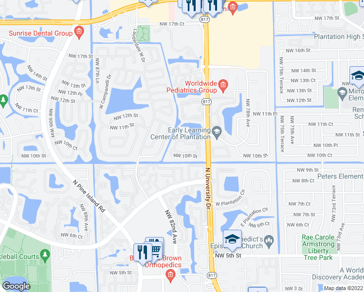 map of restaurants, bars, coffee shops, grocery stores, and more near 8080 Northwest 10th Court in Plantation