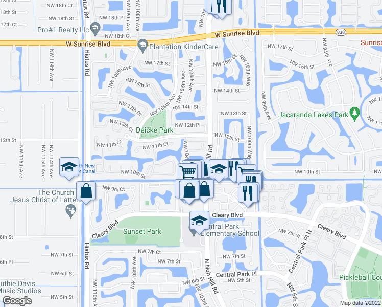 map of restaurants, bars, coffee shops, grocery stores, and more near 10360 Northwest 11th Street in Plantation