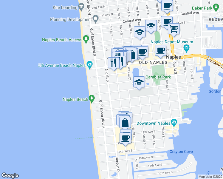 map of restaurants, bars, coffee shops, grocery stores, and more near 217 8th Avenue South in Naples