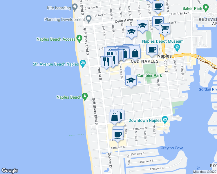 map of restaurants, bars, coffee shops, grocery stores, and more near 275 8th Avenue South in Naples