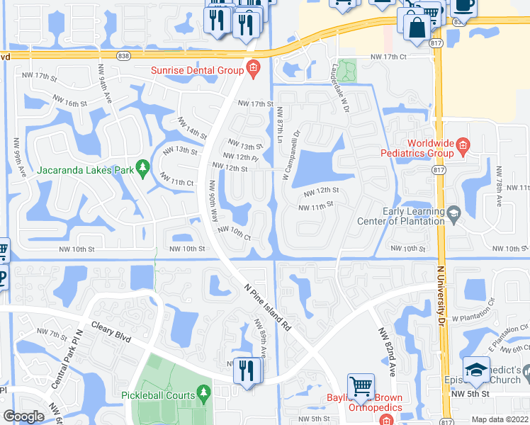 map of restaurants, bars, coffee shops, grocery stores, and more near 1070 Northwest 89th Avenue in Plantation