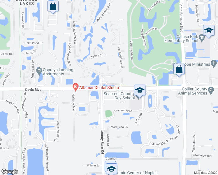 map of restaurants, bars, coffee shops, grocery stores, and more near 6825 Davis Boulevard in Naples