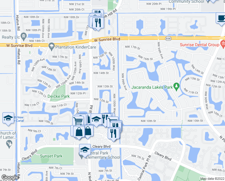 map of restaurants, bars, coffee shops, grocery stores, and more near 1271 Northwest 100th Way in Plantation
